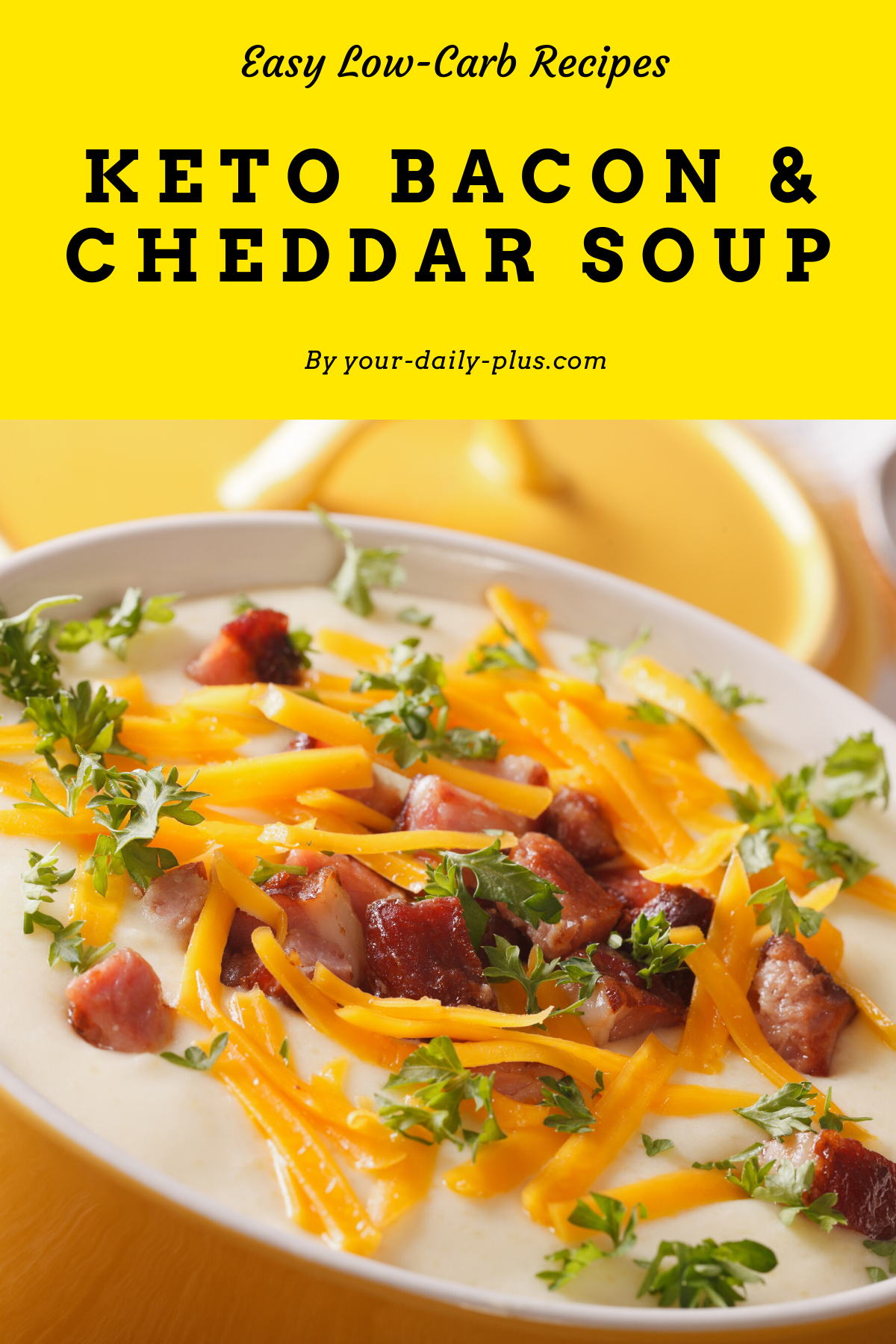 Creamy, delicious and a massive fat bomb, this soup is going to have you powering through your day with the strength of champions. We've combined sharp, cheddar cheese with bacon in an easy-to-make soup. #souprecipes #lowcarbsoup #keto #ketodiet